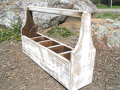Wooden garden toolbox or catchall or planter with dividers made in USA