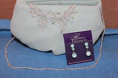 NEW! Small beaded chiffon evening bag with matching pierced earrings