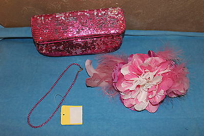 NWT small lot of PINK formal wear accents! Purse, hair flower, crystal necklace