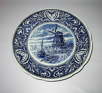 """Boch Royal Sphinx Delfts Wall Plate Blue White Windmill Canal Holland 10"""""""