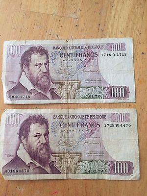 Old Belgium/Belgique Paper Money Currency- 100 Francs - Circulated-Free Shipping