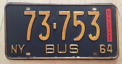 "1964 1965 New York Bus  License Plate "" 73 753 "" Ny 64 65"