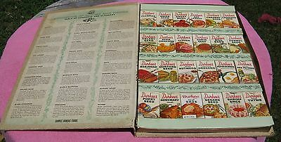 Vintage Durkee COOKBOOK of SPICES and HERBS SPICE RACK Storage Container, Filled