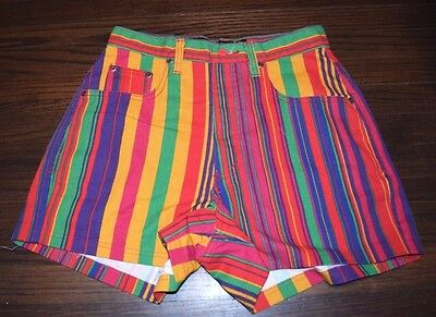 Colorful striped High Waist Z. Cavaricci 90's Hipster SHORTS size 30 Festival
