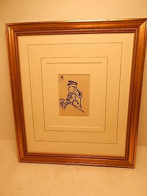 Richard Barabandy Artist Signed Drawing Pen Black Ink & Pencil A Man in Uniform