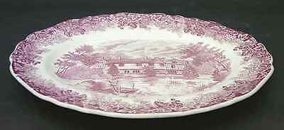 "J & G Meakin ROMANTIC ENGLAND RED 12 1/4"" Oval Serving Platter 351358"