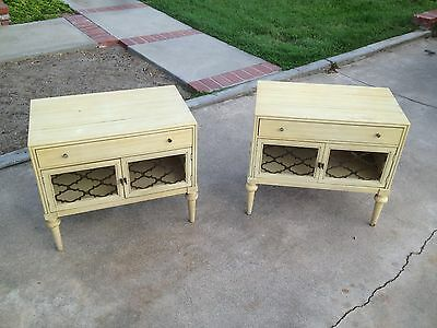Vintage Painted Shabby Distress Night Stands End Tables  American  Martinsville