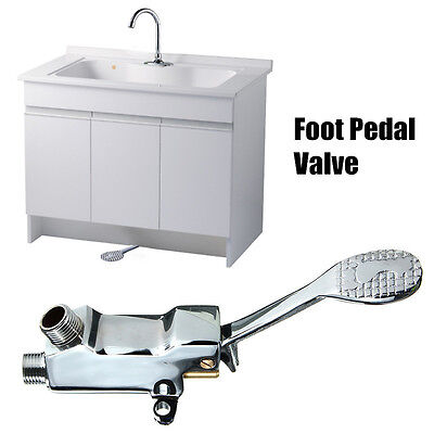 Floor Foot Pedal Control Switch Valve Faucet Copper Basin Lab Single Water Tap