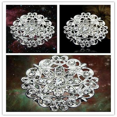 Clear Silver Tone Rhinestone Crystal Diamante Flower Pin Wedding Alloy Brooch Uj