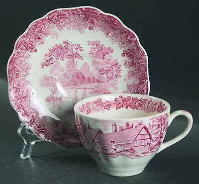 J & G Meakin ROMANTIC ENGLAND RED Cup & Saucer 6328149