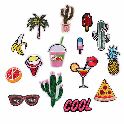 15pcs Mixed Summer Embroidered Iron ON Patch Cloth Badge for Jean Decoration