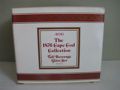 Avon Cape Cod 1876 Ruby Red tall beverage glass set of 2 (two)  in box