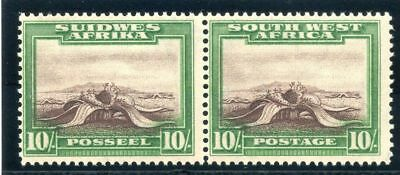 S.W.A. 1931 KGVI 10s red-brown & emerald bilingual pair MLH. SG 84. Sc 119.