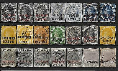 St.lucia 1882-4 Selection Of Revenue Stamps On S/card Mainly Used