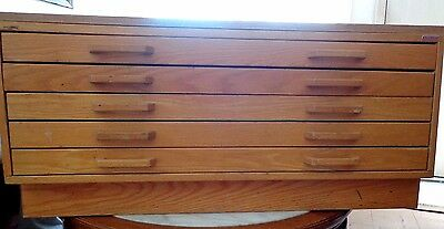 Stacor Wood Flat File Cabinet 5 Drawers with Base for Art, Blueprints, Maps etc
