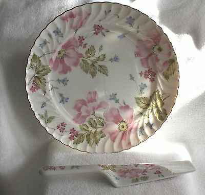 Vintage Andrea by Sadek Pink Aster Cake Plate and Server