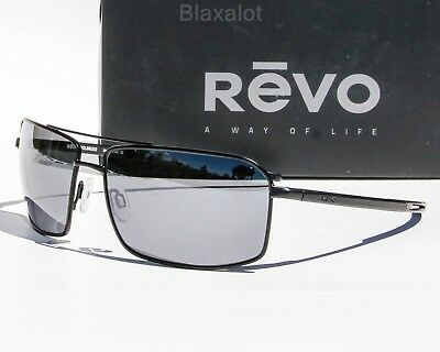 NEW REVO CAYO POLARIZED SUNGLASSES Black/Gunmetal/Chrome / Blue Water Mirror