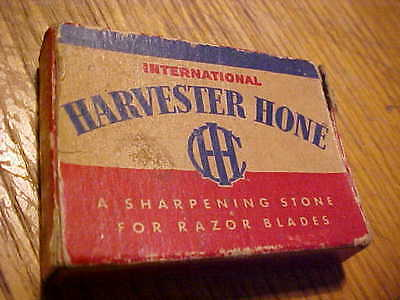 vintage IH International Harvester hone,sharpening stone in box