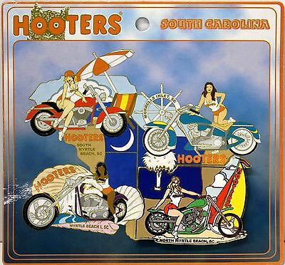 Hooters Restaurant Girl North Myrtle Beach Sc Green Motorcycle Puzzle Lapel Pin