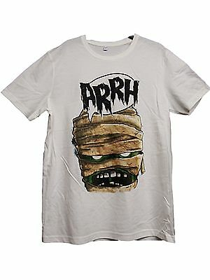 NEW EX STORE BOYS GIRLS OFF WHITE AAARGH MUMMY HALLOWEEN T-SHIRT Age 13/14 yrs