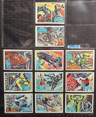 1966 BATMAN Topps Red Bat Trading Cards LOT of 11 VG/VG+ Puzzle Back