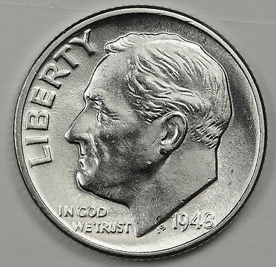 1948-d Roosevelt Dime.  Fully Separated Horizontal Torch Line's. BU (Inv. F)