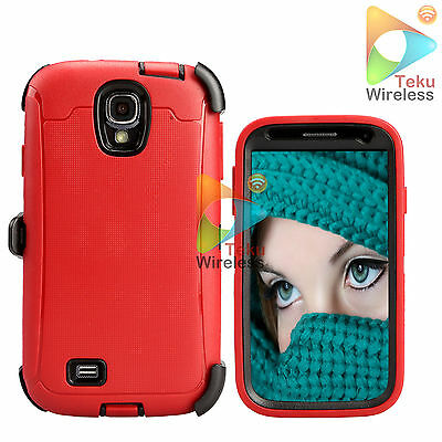 For Samsung Galaxy S4 S 4 Case + Holster (Clip Fits Otterbox Defender) Red-Black