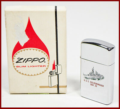 Vintage Zippo U.S.S. Goldsborough DDG 20 Navy Ship Two-Sided Slim Lighter w/ Box