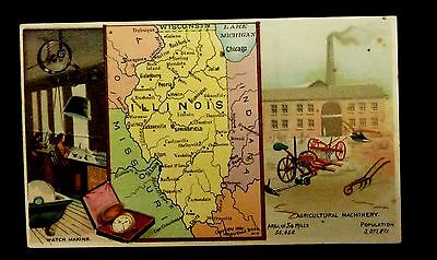 {BJ STAMPS} ARBUCKLES' Coffee Advertising Card ILLINOIS Watch making Agriculture