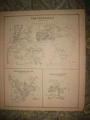 Antique 1892 Chesterfield & Factory Nelson Rindge New Hampshire Map Detialed Nr