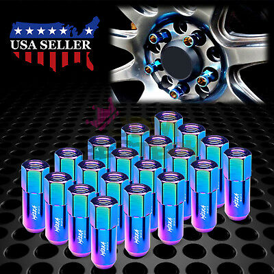 Neo Chrome 20 PCS M12X1.5 Lug Nuts Extended Tuner Aluminum Wheels Rims Cap WN02