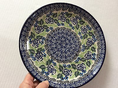 "NEW C.A. POLISH POTTERY 10.5"" Dinner Plate- Blue Rose"