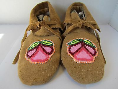 Authentic Native American Moccasins, Hand Made, Leather, 9 Inches, Pink Beading