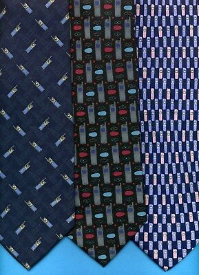 FREE P&P* 100% Silk - Mobile Cell Phones Pink & Blue Novelty Fun Tie #3634