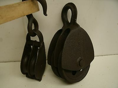Lot of 2 Vintage Cast Iron Double Pulleys Barn Rustic Primitive Decor