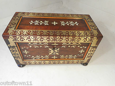 Antique Brass inlaid Rosewood Tea Caddy Box     ref 1755