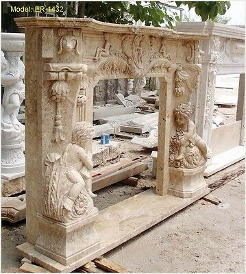 Customize Personal Hand Carved Solid Marble Travertine Fireplace Mantel Surround
