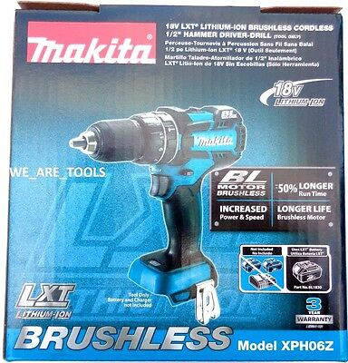 "New IN BOX Makita 18V XPH06Z LXT Cordless Brushless 1/2"" Hammer Drill 18 Volt"