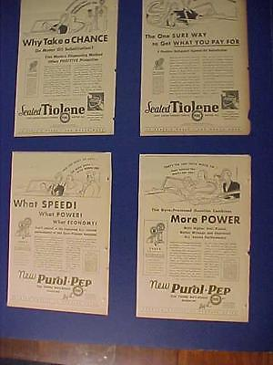 ~PURE GASOLINE & OIL GAS ART PRINT AD's~ ANTIQUE Clippings LOT OLD Original 1932