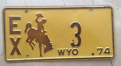 "1974 Wyoming  State Official Exempt License Plate "" Ex  3 ""  Very Low Number Wyo"
