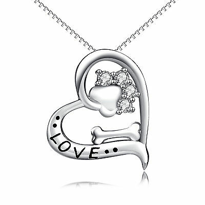 925 Sterling Silver Puppy Dog Paw Print Bone Pendant Love Heart Necklace BEST