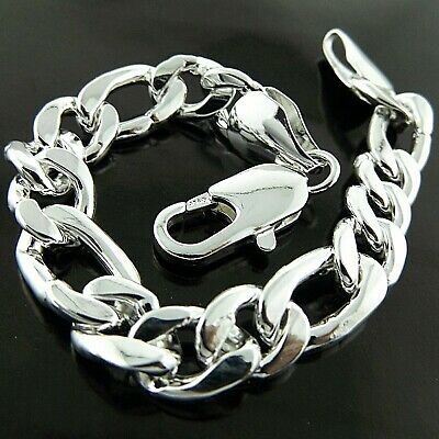 """*Bracelet Bangle Real 925 Sterling Silver SF Solid Mens Heavy Curb Cuban Link 8/"""""""