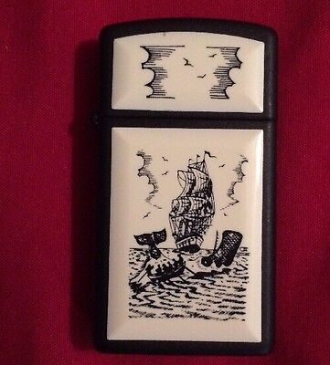 1986 Scrimshaw Black Slim Zippo Lighter Pre-Owned Looks New For Adults