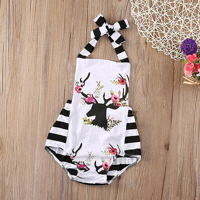 Infant Baby Girls Floral Unicorn Romper Bodysuit Jumpsuit Outfits Summer Set UK
