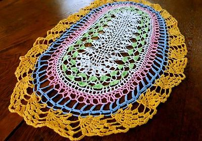 OVAL Multicolored Pink Blue Gold Green CrochetTable Runner Dresser Scarf Doily