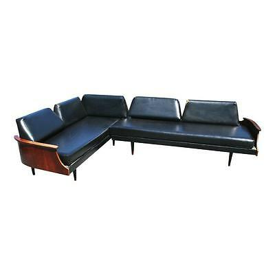 Mid Century Modern 2 Pc DAYBED SOFA black vinyl vintage wood couch danish 50s