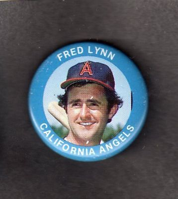 1985 FUN FOOD PIN BACK BUTTON Fred Lynn ANGELS 1-1/8""
