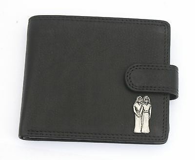 Gemini The Twins Leather Wallet BLACK or BROWN Birth Sign Gift 149