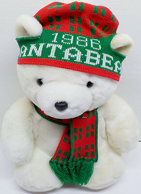 "1986 Dayton Hudson Plush Santa Bear With Bag , 17"" Tall With Hat & Scarf"
