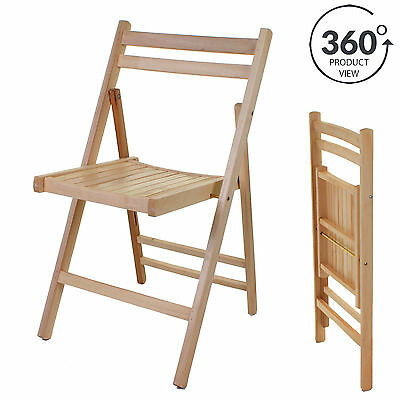WOODEN FOLDING CHAIR Indoor Outdoor Slatted Natural Dining Patio ...